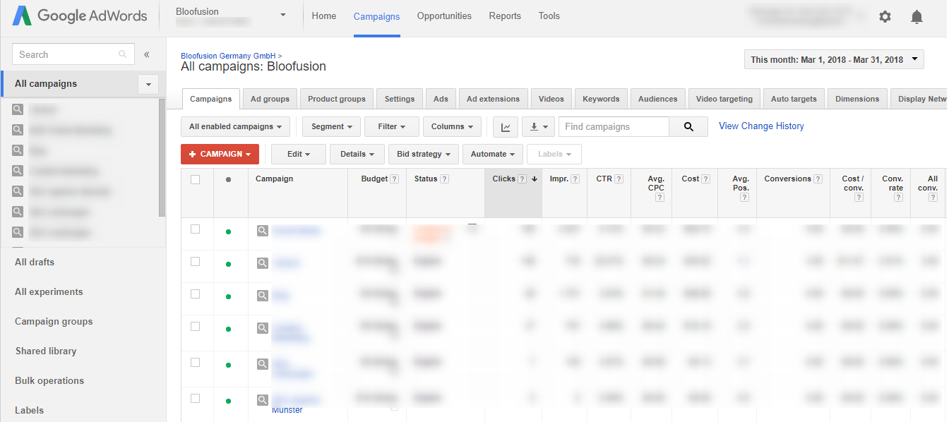 The interface of AdWords Ubernext